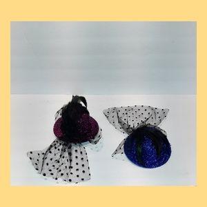 2 Sparkle Top Hat Fascinators Veil Feathers